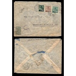 E)1945 CZHESCHOSLOVAKIA,FLOWERS STRIP OF 3, AIR MAIL,CIRCULATED COVER TO MEXICO,
