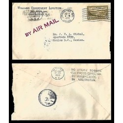E)1950 CANADA, LANDSCAPE STAMP, AIR MAIL, CIRCULATED COVER TO MEXICO