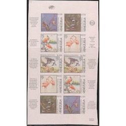 O) 1988 VENEZUELA, DIVERSITY OF BIRDS, DEFINES THE NATURE, MINI SHEET IMPERFORAT
