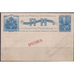 "o) 1898 HAITI, POSTAL STATIONARY 1 C 'SIMON SAM"" STATIONARY CARD HIGGINS NO 1 PR"