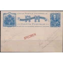 "o) 1898 HAITI, POSTAL STATIONARY 1 C 'SIMON SAM"" STATIONARY CARD HIGGINS NO 1 PR"