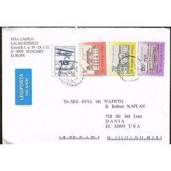 E)1998 HUNGARY, AIR PLANE, HOUSES, CIRCULATED COVER TO USA