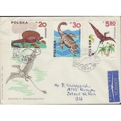 O) 1965 POLAND, DINOSAURS - EDAPHOSAURUS, CRYPTOCLEIDUS, RHAMPHORHYNCHUS, FDC U