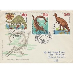 O) 1965 POLAND, DINOSAURS - BRONTOSAURUS, MESOSAURUS, CORYTHOSAURUS, FDC USED