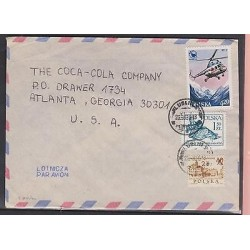 O) 1980 POLAND HELICOPTER, MOUNTAINS, STATUE OF LIBERTY, ARCHITECTURE, COVER TO
