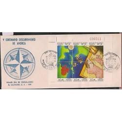 O) 1991 EL SALVADOR, MARINE ROUTE TO THE DISCOVERY OF AMERICA 1492, V CENTENARY,