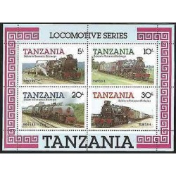 B)1985 TANZANIA, TRAINS, RAILWAYS, RAILROAD, LOCOMOTIVES SERIES, BLOCK OF 4