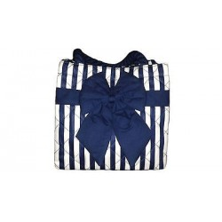 Handbag with blue and white stripes.