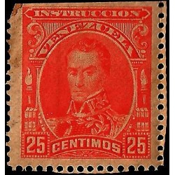 E)1900 VENEZUELA,SIMON BOLIVAR, 277, INSTRUCTION VENEZUELA, 25 CENT, RED, MNH