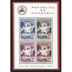 E)1968 NICARAGUA, VIEW EXHIBITION TOWER AND EMBLEM, AP93, SOUVENIR SHEET, MNH
