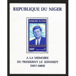 E)1973 NIGER, 10TH ANNIV OF THE DEATH PRESIDENT JOHN F. KENNEDY, SOUVENIR SHEET
