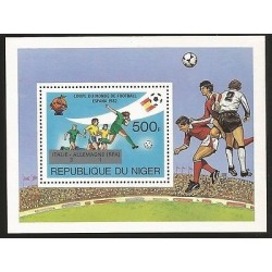 E)1982 NIGER, SPAIN 82 WORLD CUP SOCCER WITH MARKER, SOUVENIR SHEET, MNH