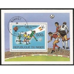 E)1982 NIGER, SPAIN 82 WORLD CUP SOCCER, CTO, SOUVENIR SHEET, MNH