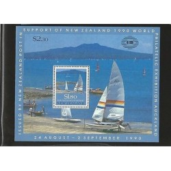 E)1990 NEW ZEALAND, 150TH ANNIV. OF AUCKLAND, BOATS, OCEAN, BEACH, SOUVENIR