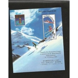 E)1994 NEW ZEALAND, HELI SKIING ,MOUNTAIN, BUILDINGS OF HONG KONG, HELICOPTER