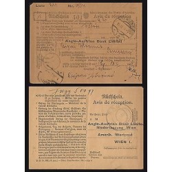B)1924 AUSTRIA, BANK NOTE-BANK RECEIPT, XF