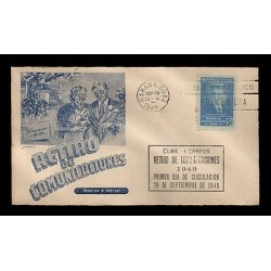 E)1949 CARIBBEAN, ISMAEL CESPEDES A155, 5C BRT BLUE, COMMUNICATIONS RETIREMENT
