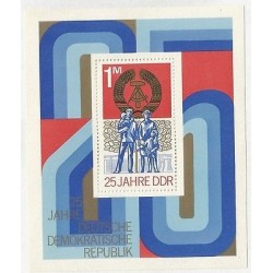 B) 1974 GERMANY, DEMOCRACY, FAMILY AND FLAG, 25 YEARS GERMAN DEMOCRATIC REP