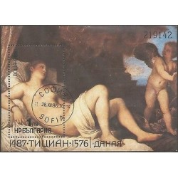 B)1986 BULGARIA, ART, PAINTINGS, NUDE, DANAE BY TITIAN, SOUVENIR SHEETS, M
