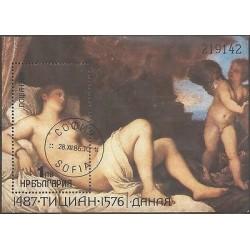 B)1986 BULGARIA, ART, PAINTINGS, NUDE, DANAE BY TITIAN, SOUVENIR SHEETS, M