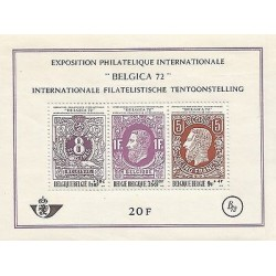 B)1972 BELGIUM, INTERNATIONAL PHILATELIC EXHIBITION, BLOCK OF 3, SOUVENIR