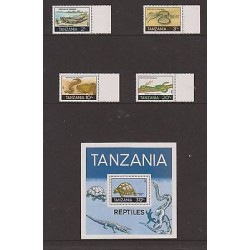 E)1987 TANZANIA, REPTILES OF TANZANIA, ANIMALS, CROCODRILE, SNAKE, TORTOISE