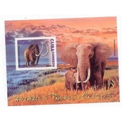 E) 2002 CARIBBEAN, MAMMOTH, ELEPHANT, PREHISTORIC ANIMALS, SOUVENIR SHEET, MNH