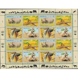 O) 1995 UNITED NATIONS - VIENNA, ANIMALS IN DANGER OF EXTINCTION, MINI SHEET MNH