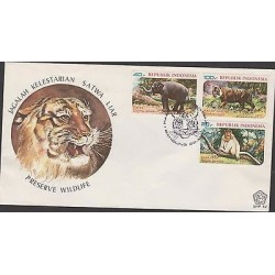 O) 1977 INDONESIA, PRESERVE WILDLIFE, WILD ANIMALS, FDC XF