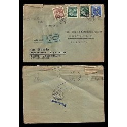 E)1942 CZECHOSLOVAKIA, LEAFS, AVIATOR, CIRCULATED COVER TO MEXICO, RARE DESTINAT