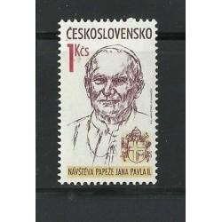 O) 1990 CZECHOSLOVAKIA, VISIT OF THE POPE JOHN PAUL II, MNH