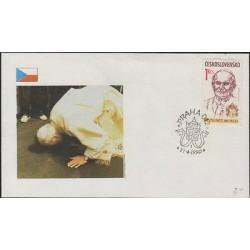 O) 1990 CZECHOSLOVAKIA, MITRA, POPE JOHN PAUL II-KAROL WOJTYLA, FDC XF.