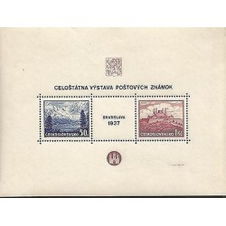 E)1937 CZECHOSLOVAKIA, CASTLE, BRATISLAVA, STAMP EXHIBITION BLOCK, MNH