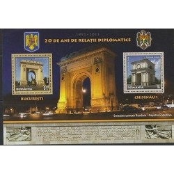 RO) 2011 ROMANIA, ARCH OF TRIUMPH, HOLY GATES, JOINT ISSUE MOLDOVA, SOUVENIR MNH