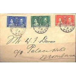 O) 1937 KENYA, COVER CIRCULATED, KING EDWARD VIII, XF