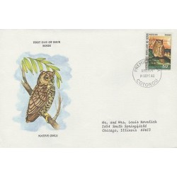 O) 1982 BENIN-AFRICA, OWLS, FDC USED TO CHICAGO, XF