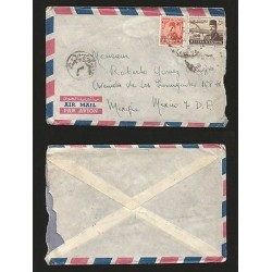 E)1950 EGYPT, KING FAROUK, AIR MAIL, CIRCULATED COVER TO MEXICO