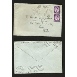 E)1965 GREAT BRITAIN, QUEEN ELIZABETH II PAIR OF 2, CIRCULATED COVER TO ITALY,