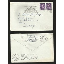 E)1965 GREAT BRITAIN, QUEEN ELIZABETH II, VIOLET STAMP, STIRIP OF 2, CIRCULAR