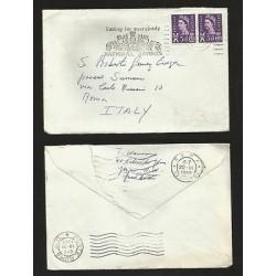 E)1965 GREAT BRITAIN, QUEEN ELIZABETH II, VIOLET STAMP, STIRIP OF 2, CIRCULAR