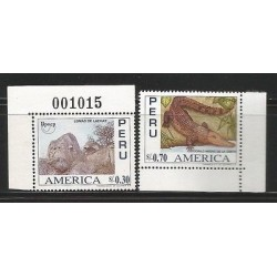E)1996 PERU, AMERICA ISSUE, ROCK FORMATIONS OF LACHAY, COASTAL BLACK CROCODILE