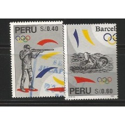 E)1996 PERU, SUMMER OLYMPIC GAMES 1992, BARCELONA, SHOOTING, SWIMMING, A496, SET