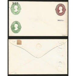 G)1883 MEXICO, 2 10 CTS. & 1 5 CTS. EMBOSSED POSTAL STATIONARY ENVELOPE, EXPERIM
