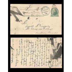 B)1915 USA, ONE CENT GREEN, JEFFERSON, WASHINGTON CANCELLED POSTCARD