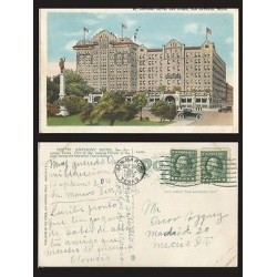 B)1923 USA, ONE CENT GREEN WASHINGTON, BLOCK OF 2, ST ANTHONY HOTEL AND ANNEX, S