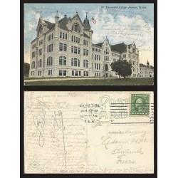 B)1915 USA, ONE CENT GREEN, WASHINGTON, ST EDWARDS COLLEGE, AUSTIN, TEXAS, POST