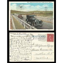B)1930 MEXICO, TWO CENTS RED WASHINGTON, BRIDGE TIJUANA RIVER RACE TRACK CASINO