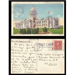 B)1937 USA, ARCHITECTURE, BUILDINGS, TWO CENTS RED WASHINGTON, STATE CAPITOL, LI
