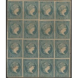 B)1860 CARIBBEAN, QUEEN ISABELLA II, BLUE GREEN, BLOCK OF 16, A FEW CORFOS, NO