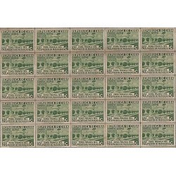 B)1936 CARIBBEAN, MATANZAS ISSUE GREEN, C20, BLOCK OF 25, TONED, MNH
